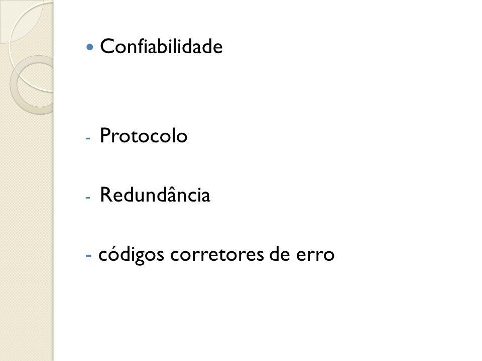  Confiabilidade - Protocolo - Redundância - códigos corretores de erro