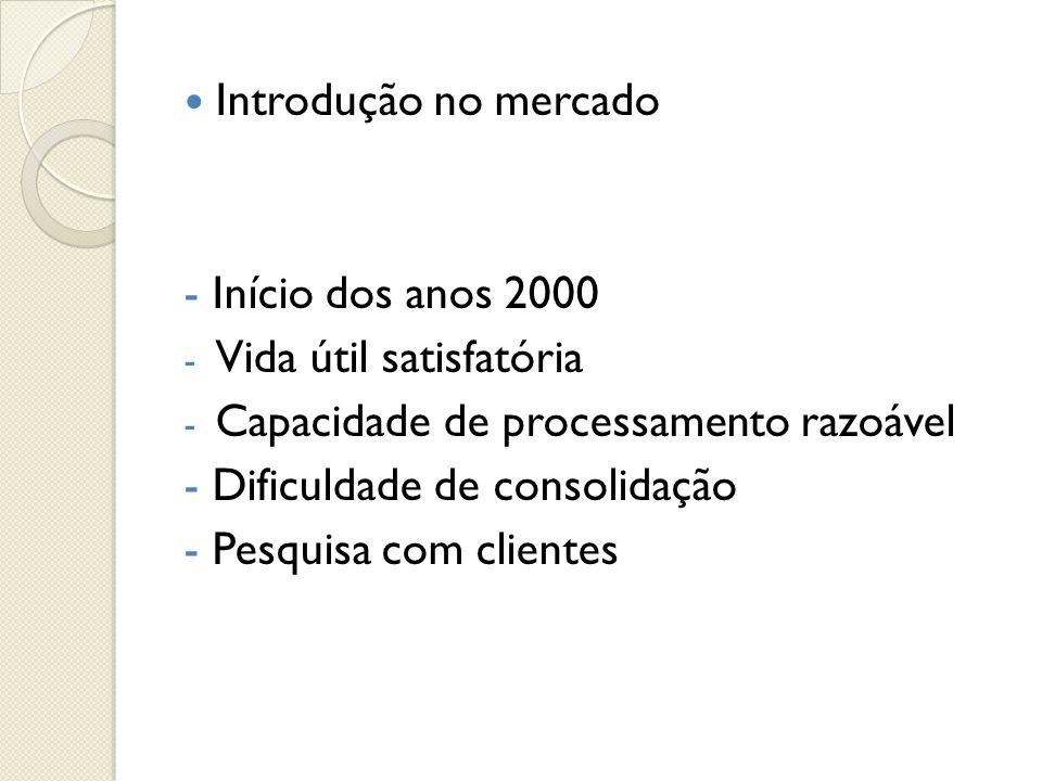  Introdução no mercado - Início dos anos 2000 - Vida útil satisfatória - Capacidade de processamento razoável - Dificuldade de consolidação - Pesquis