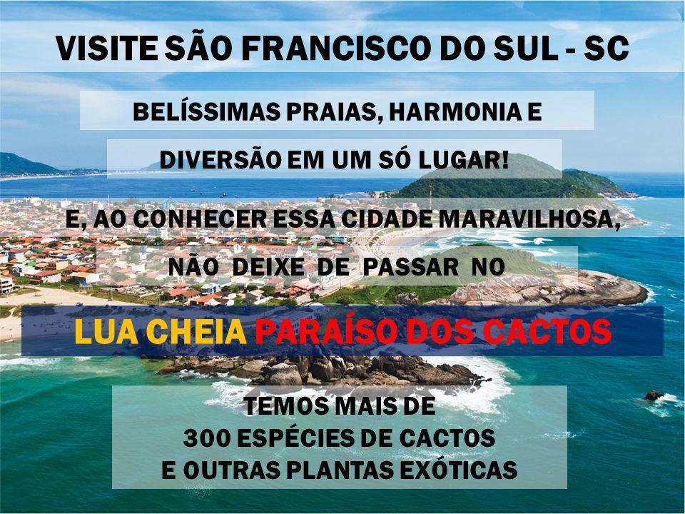 VISITE SÃO FRANCISCO DO SUL - SC BELÍSSIMAS PRAIAS, HARMONIA E TEMOS MAIS DE 300 ESPÉCIES DE CACTOS E OUTRAS PLANTAS EXÓTICAS E, AO CONHECER ESSA CIDADE MARAVILHOSA, LUA CHEIA PARAÍSO DOS CACTOS NÃO DEIXE DE PASSAR NO DIVERSÃO EM UM SÓ LUGAR!