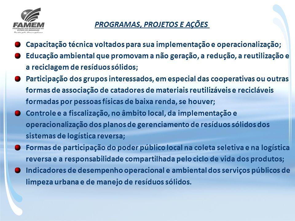 PROGRAMAS, PROJETOS E AÇÕES Capacitação técnica voltados para sua implementação e operacionalização; Educação ambiental que promovam a não geração, a