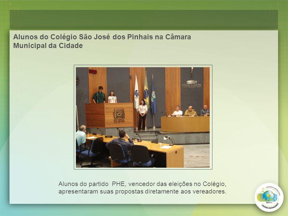 Alunos do Colégio São José dos Pinhais na Câmara Municipal da Cidade Alunos do partido PHE, vencedor das eleições no Colégio, apresentaram suas propos