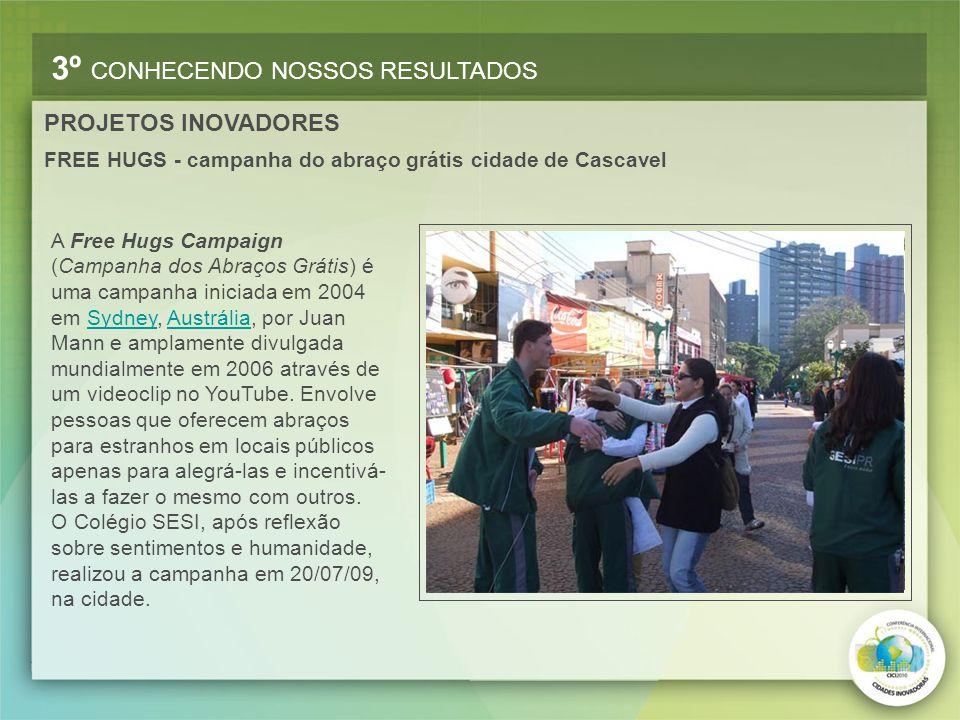 FREE HUGS - campanha do abraço grátis cidade de Cascavel 3º CONHECENDO NOSSOS RESULTADOS PROJETOS INOVADORES A Free Hugs Campaign (Campanha dos Abraço
