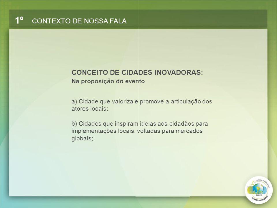 CONCEITO DE CIDADES INOVADORAS: Na proposição do evento 1º CONTEXTO DE NOSSA FALA a) Cidade que valoriza e promove a articulação dos atores locais; b)