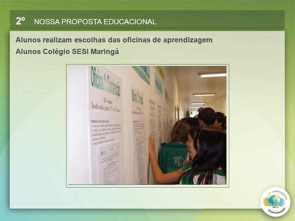 2º NOSSA PROPOSTA EDUCACIONAL Alunos realizam escolhas das oficinas de aprendizagem Alunos Colégio SESI Maringá Alunos realizam escolhas das oficinas