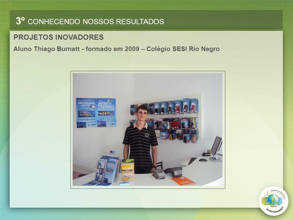 Aluno Thiago Burnatt - formado em 2009 – Colégio SESI Rio Negro 3º CONHECENDO NOSSOS RESULTADOS PROJETOS INOVADORES