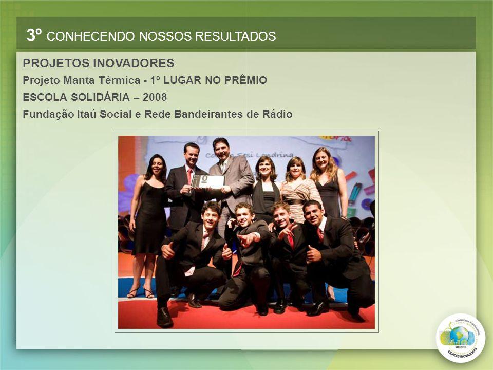 Projeto Manta Térmica - 1º LUGAR NO PRÊMIO ESCOLA SOLIDÁRIA – 2008 Fundação Itaú Social e Rede Bandeirantes de Rádio PROJETOS INOVADORES 3º CONHECENDO