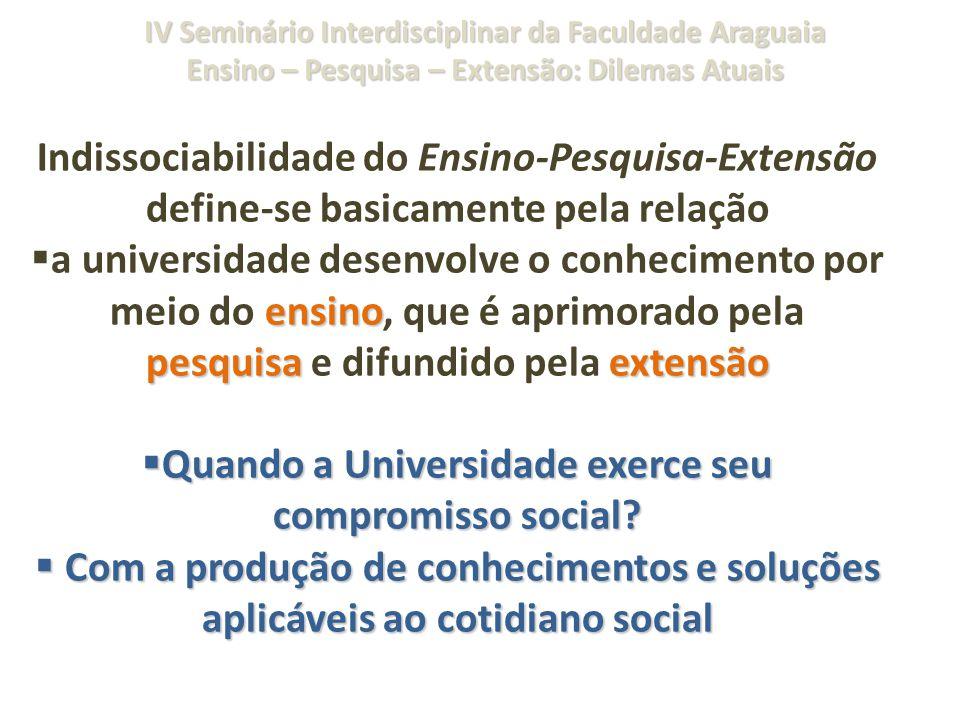 IV Seminário Interdisciplinar da Faculdade Araguaia Ensino – Pesquisa – Extensão: Dilemas Atuais Indissociabilidade do Ensino-Pesquisa-Extensão define