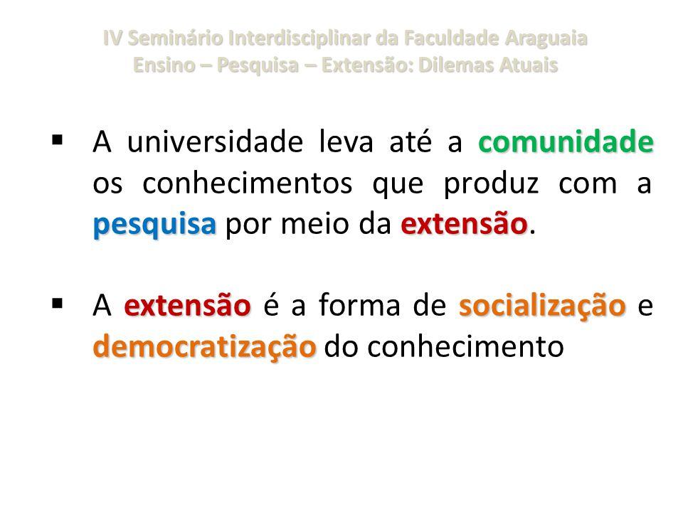 IV Seminário Interdisciplinar da Faculdade Araguaia Ensino – Pesquisa – Extensão: Dilemas Atuais comunidade pesquisaextensão  A universidade leva até