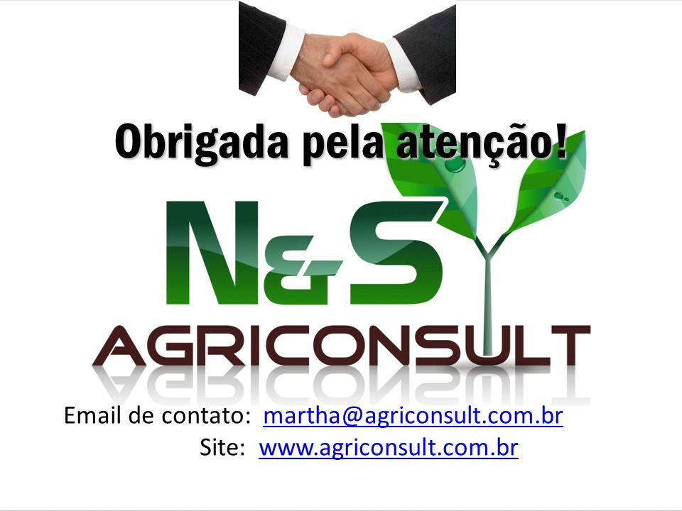 Obrigada pela atenção! Email de contato: martha@agriconsult.com.br Site: www.agriconsult.com.brmartha@agriconsult.com.brwww.agriconsult.com.br