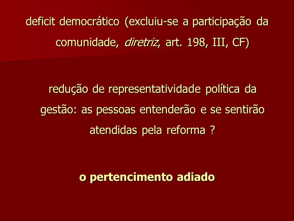 deficit democrático (excluiu-se a participação da comunidade, diretriz, art. 198, III, CF) redução de representatividade política da gestão: as pessoa
