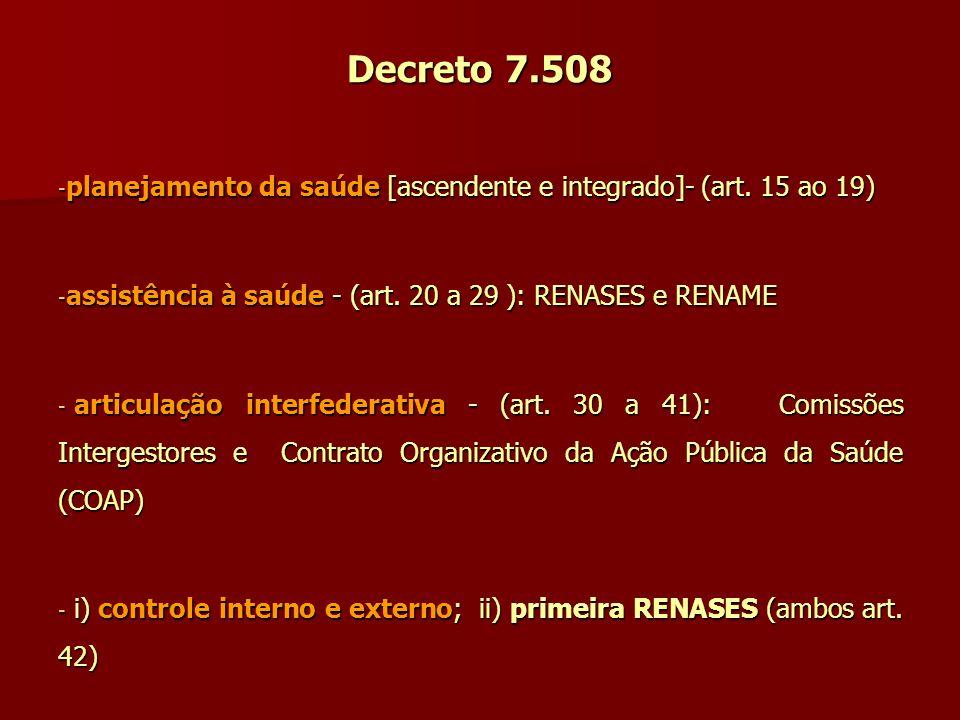 Decreto 7.508 - planejamento da saúde [ascendente e integrado]- (art. 15 ao 19) - assistência à saúde - (art. 20 a 29 ): RENASES e RENAME - articulaçã