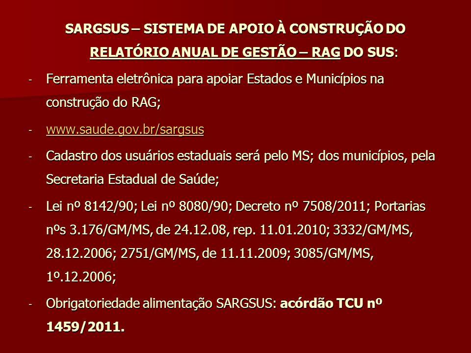 SARGSUS – SISTEMA DE APOIO À CONSTRUÇÃO DO RELATÓRIO ANUAL DE GESTÃO – RAG DO SUS: - Ferramenta eletrônica para apoiar Estados e Municípios na constru