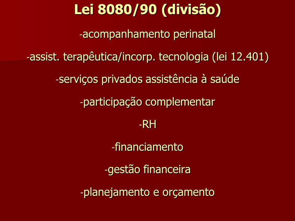 Lei 8080/90 (divisão) - acompanhamento perinatal - assist. terapêutica/incorp. tecnologia (lei 12.401) - serviços privados assistência à saúde - parti