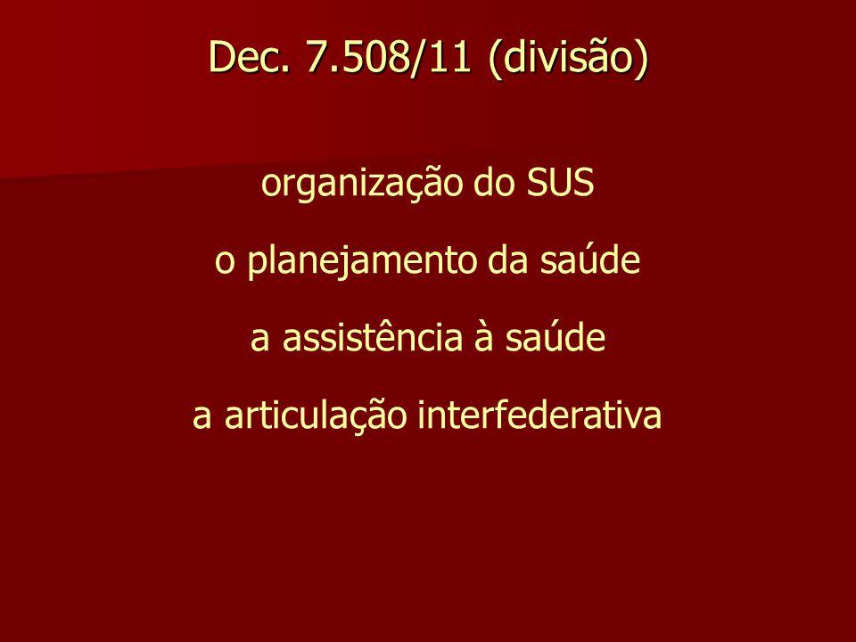 Dec. 7.508/11 (divisão) organização do SUS o planejamento da saúde a assistência à saúde a articulação interfederativa