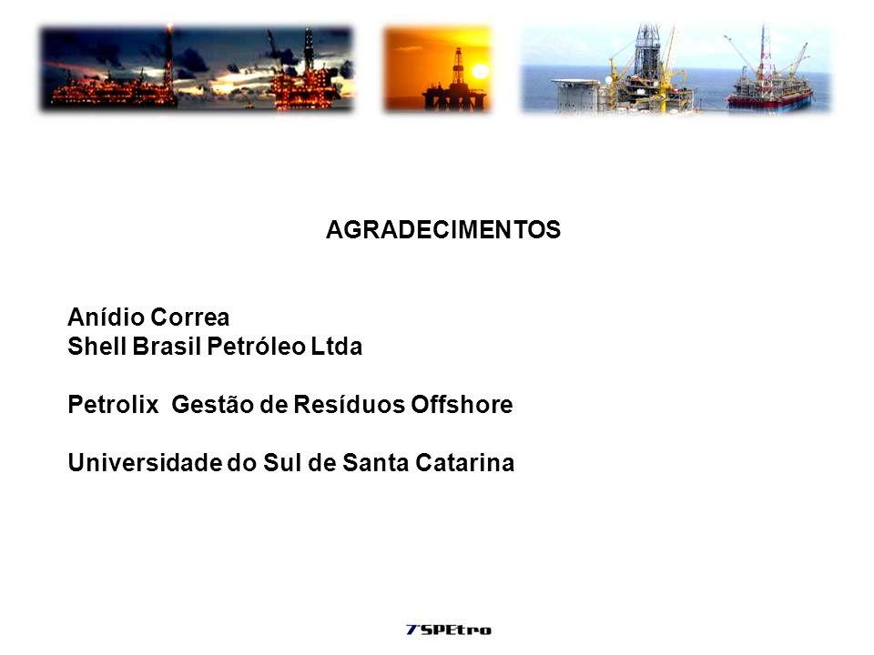 AGRADECIMENTOS Anídio Correa Shell Brasil Petróleo Ltda Petrolix Gestão de Resíduos Offshore Universidade do Sul de Santa Catarina