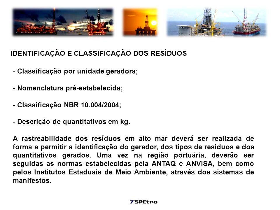 IDENTIFICAÇÃO E CLASSIFICAÇÃO DOS RESÍDUOS - Classificação por unidade geradora; - Nomenclatura pré-estabelecida; - Classificação NBR 10.004/2004; - D