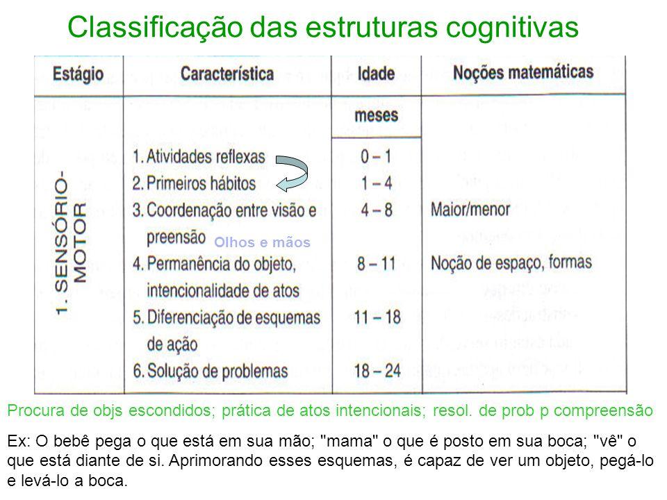 Classificação das estruturas cognitivas Procura de objs escondidos; prática de atos intencionais; resol. de prob p compreensão Ex: O bebê pega o que e
