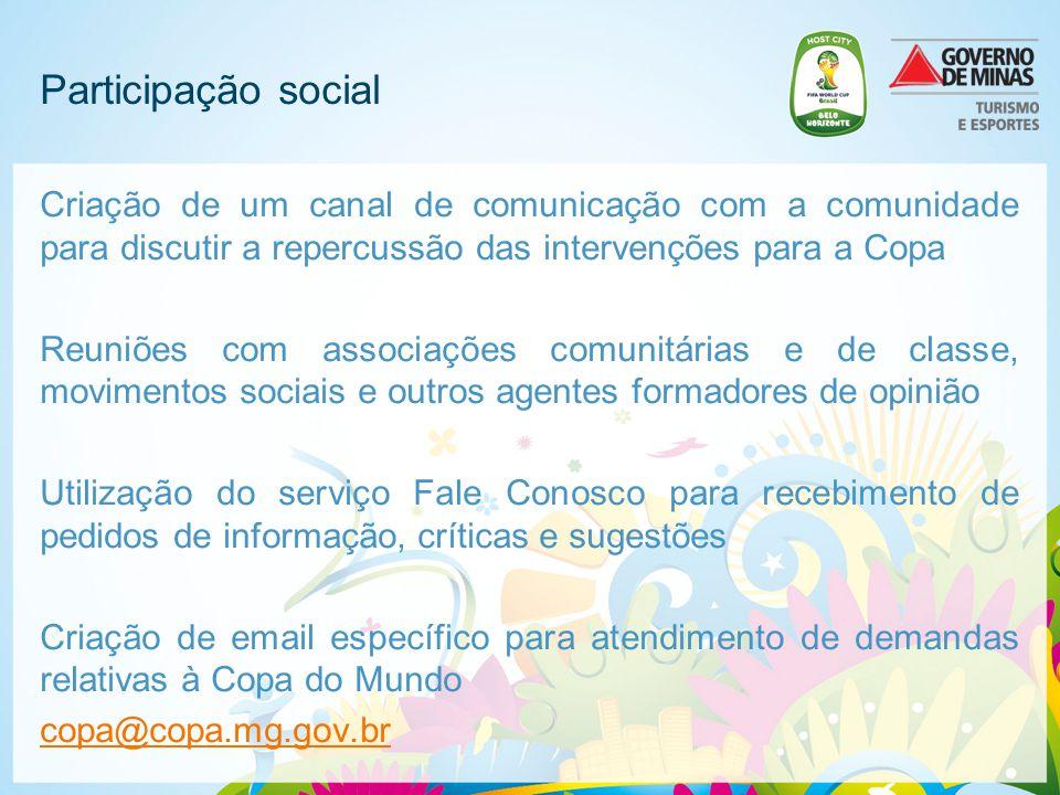 Participação social Criação de um canal de comunicação com a comunidade para discutir a repercussão das intervenções para a Copa Reuniões com associaç