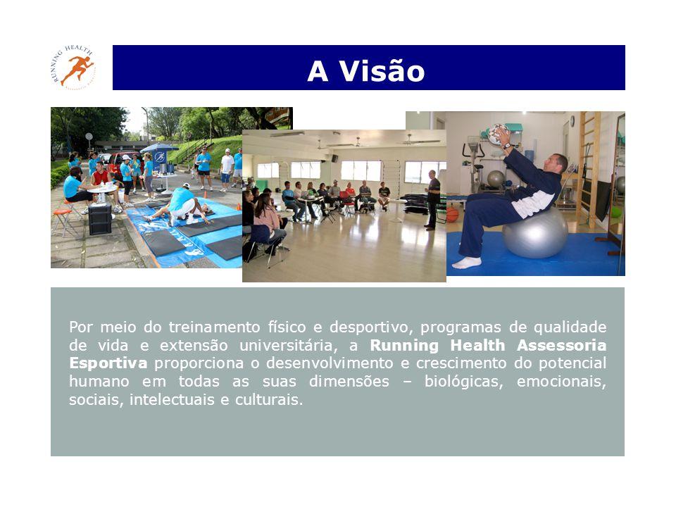 A Visão Por meio do treinamento físico e desportivo, programas de qualidade de vida e extensão universitária, a Running Health Assessoria Esportiva proporciona o desenvolvimento e crescimento do potencial humano em todas as suas dimensões – biológicas, emocionais, sociais, intelectuais e culturais.