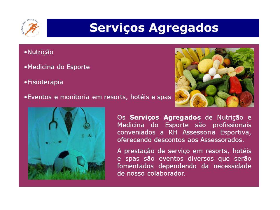 Serviços Agregados •Nutrição •Medicina do Esporte •Fisioterapia •Eventos e monitoria em resorts, hotéis e spas Os Serviços Agregados de Nutrição e Med
