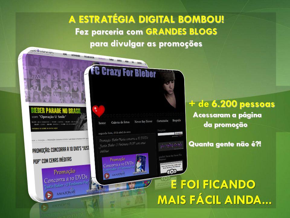 A ESTRATÉGIA DIGITAL BOMBOU! Fez parceria com GRANDES BLOGS para divulgar as promoções E FOI FICANDO MAIS FÁCIL AINDA... 6.200 pessoas + de 6.200 pess