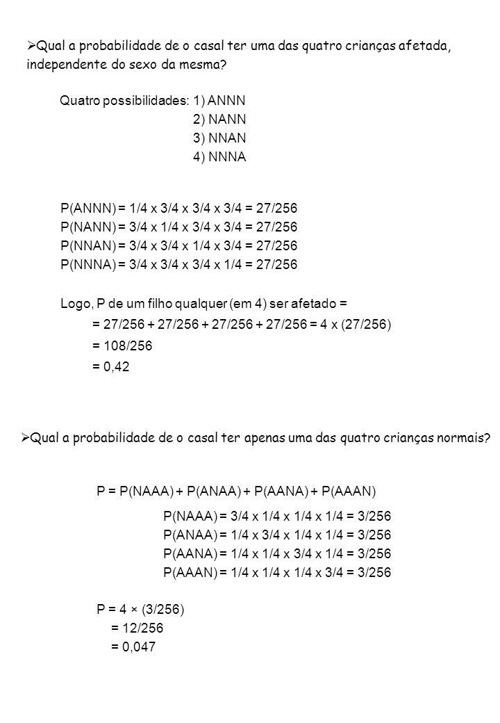 Probabilidade Binomial:  de que x indivíduos da prole caiam em uma das classes.