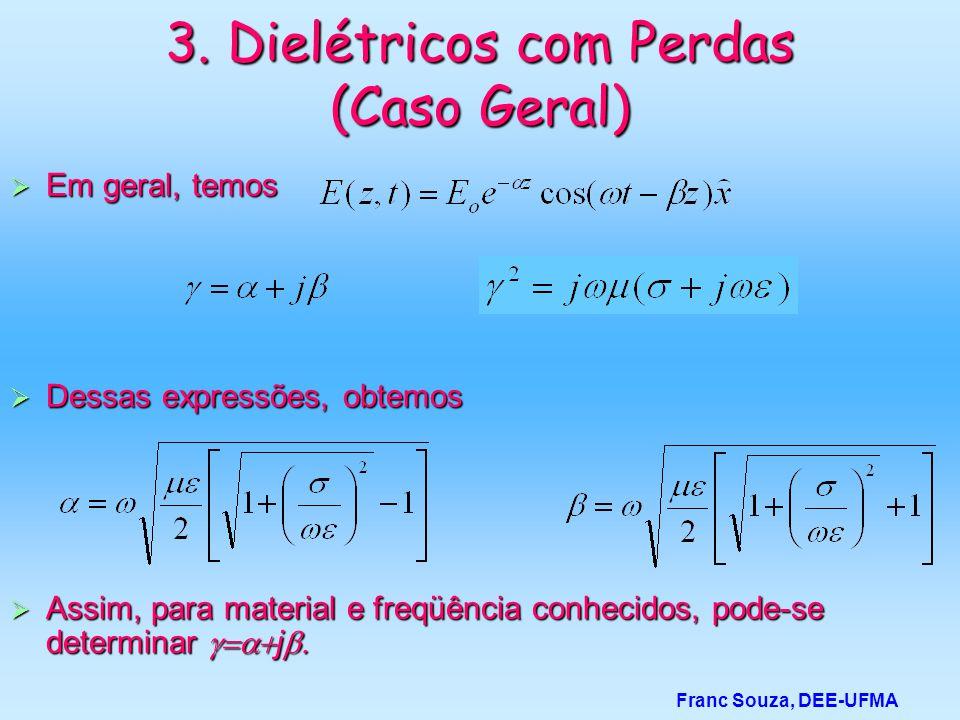 3. Dielétricos com Perdas (Caso Geral)  Em geral, temos  Dessas expressões, obtemos  Assim, para material e freqüência conhecidos, pode-se determin