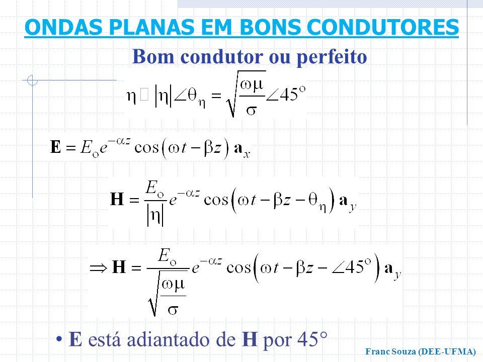 • E está adiantado de H por 45° Bom condutor ou perfeito ONDAS PLANAS EM BONS CONDUTORES Franc Souza (DEE-UFMA)