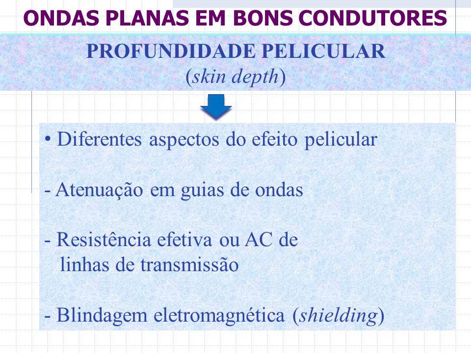 • Diferentes aspectos do efeito pelicular - Atenuação em guias de ondas - Resistência efetiva ou AC de linhas de transmissão - Blindagem eletromagnéti
