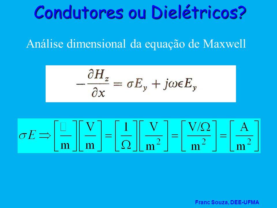 Franc Souza, DEE-UFMA Condutores ou Dielétricos? Análise dimensional da equação de Maxwell