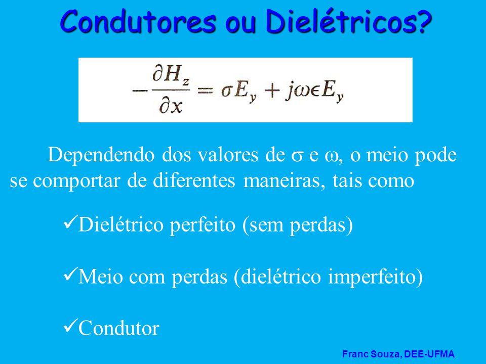 Franc Souza, DEE-UFMA Condutores ou Dielétricos? Dependendo dos valores de  e , o meio pode se comportar de diferentes maneiras, tais como  Dielétr