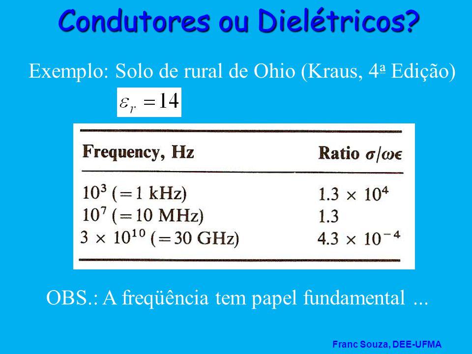 Franc Souza, DEE-UFMA Condutores ou Dielétricos? Exemplo: Solo de rural de Ohio (Kraus, 4 a Edição) OBS.: A freqüência tem papel fundamental...