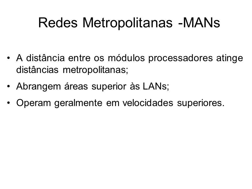 Redes Metropolitanas -MANs •A distância entre os módulos processadores atinge distâncias metropolitanas; •Abrangem áreas superior às LANs; •Operam ger