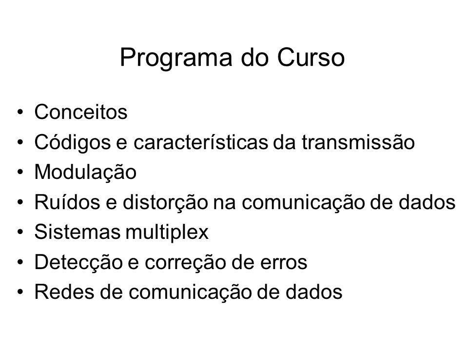 Programa do Curso •Conceitos •Códigos e características da transmissão •Modulação •Ruídos e distorção na comunicação de dados •Sistemas multiplex •Det