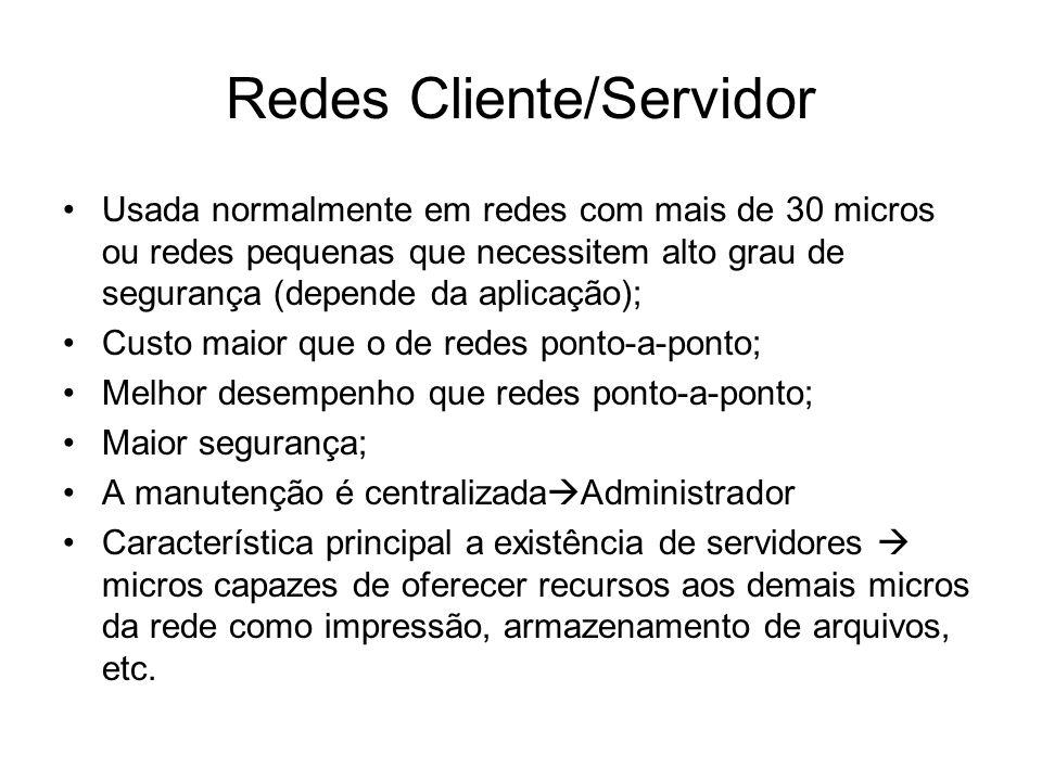 Redes Cliente/Servidor •Usada normalmente em redes com mais de 30 micros ou redes pequenas que necessitem alto grau de segurança (depende da aplicação
