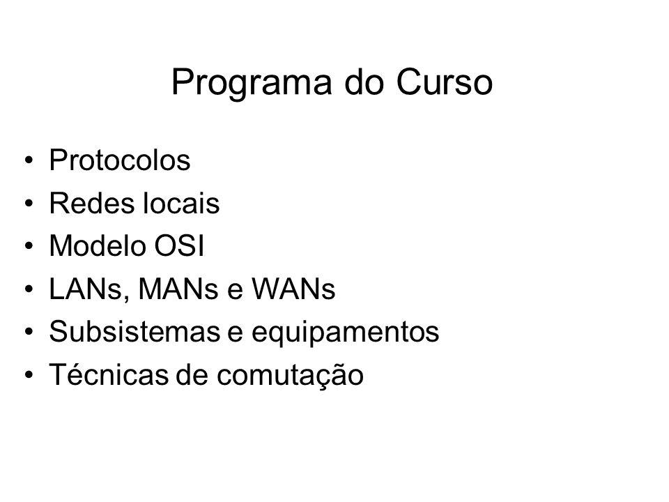 Programa do Curso •Protocolos •Redes locais •Modelo OSI •LANs, MANs e WANs •Subsistemas e equipamentos •Técnicas de comutação