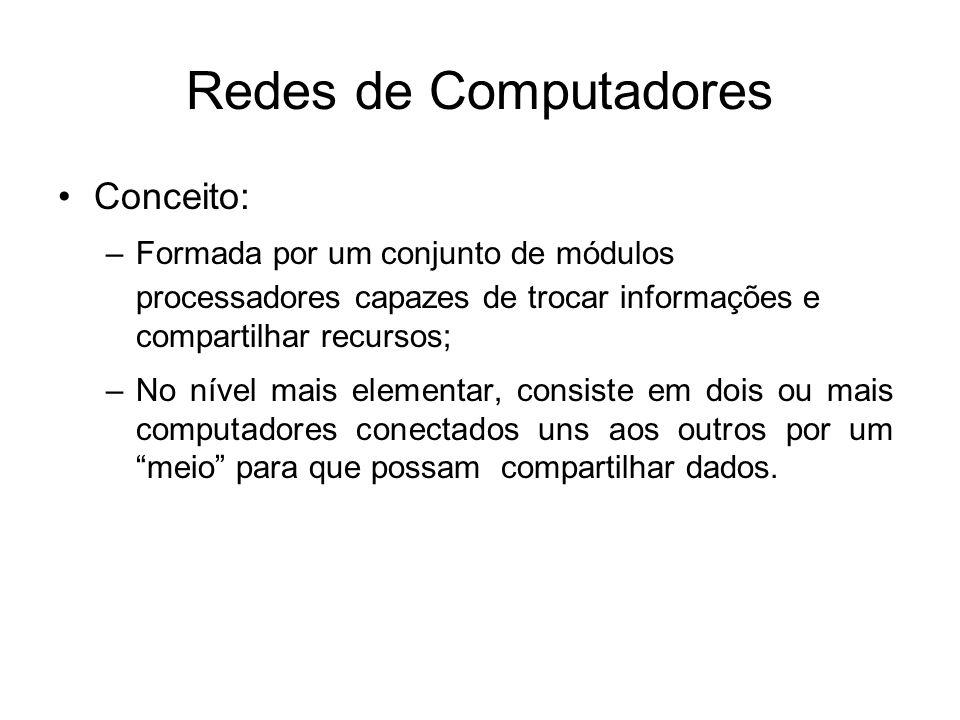Redes de Computadores •Conceito: –Formada por um conjunto de módulos processadores capazes de trocar informações e compartilhar recursos; –No nível ma