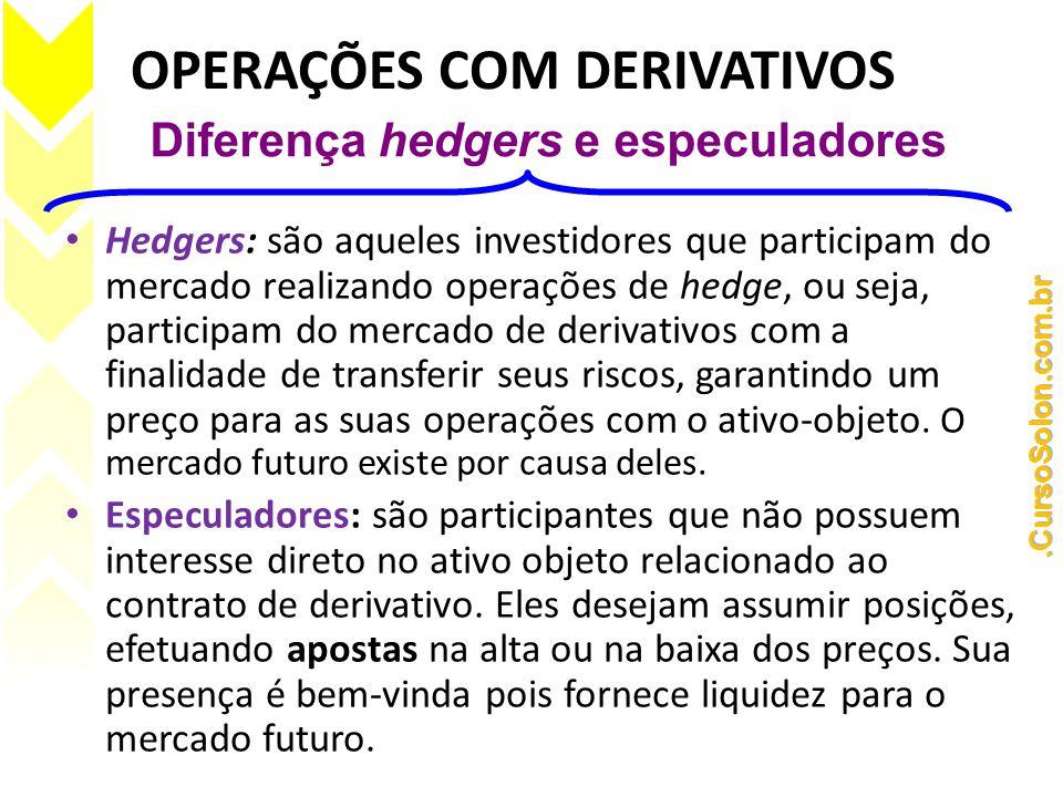 OPERAÇÕES COM DERIVATIVOS • Hedgers: são aqueles investidores que participam do mercado realizando operações de hedge, ou seja, participam do mercado de derivativos com a finalidade de transferir seus riscos, garantindo um preço para as suas operações com o ativo-objeto.