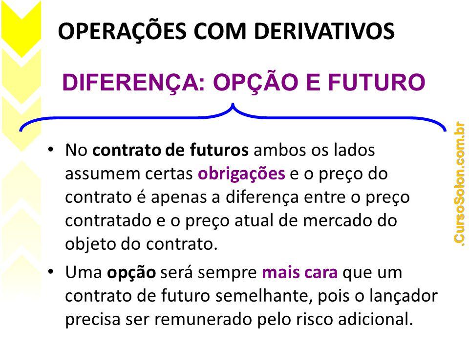 OPERAÇÕES COM DERIVATIVOS • No contrato de futuros ambos os lados assumem certas obrigações e o preço do contrato é apenas a diferença entre o preço contratado e o preço atual de mercado do objeto do contrato.