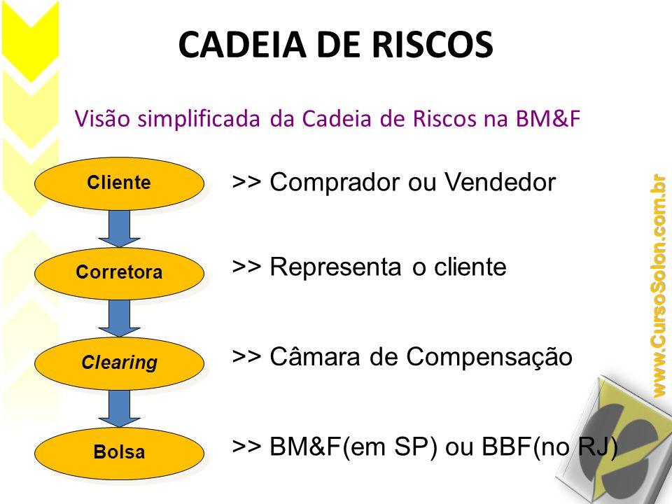 CADEIA DE RISCOS Visão simplificada da Cadeia de Riscos na BM&F Cliente Corretora Clearing Bolsa >> Comprador ou Vendedor >> Representa o cliente >> Câmara de Compensação >> BM&F(em SP) ou BBF(no RJ)