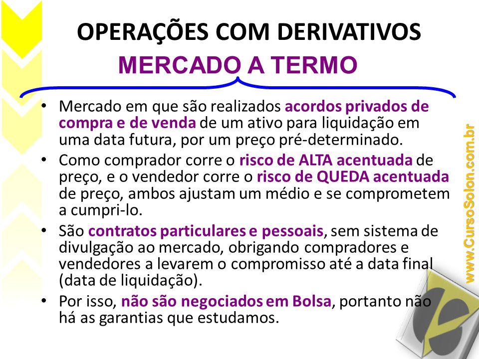 OPERAÇÕES COM DERIVATIVOS • Mercado em que são realizados acordos privados de compra e de venda de um ativo para liquidação em uma data futura, por um preço pré-determinado.