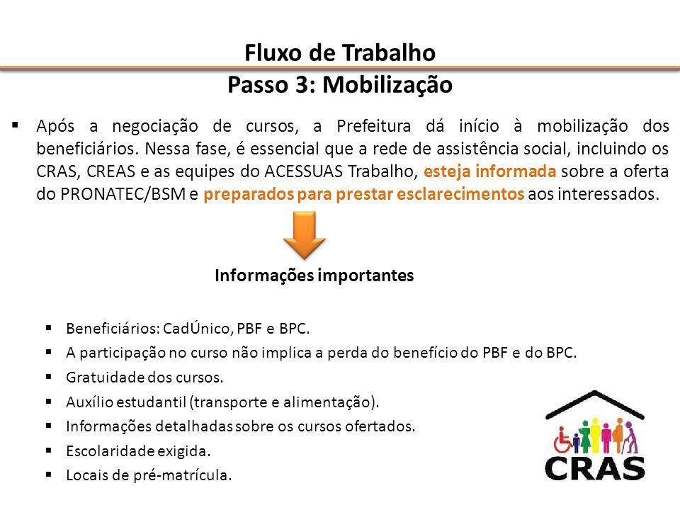 Fluxo de Trabalho Passo 3: Mobilização  Após a negociação de cursos, a Prefeitura dá início à mobilização dos beneficiários.