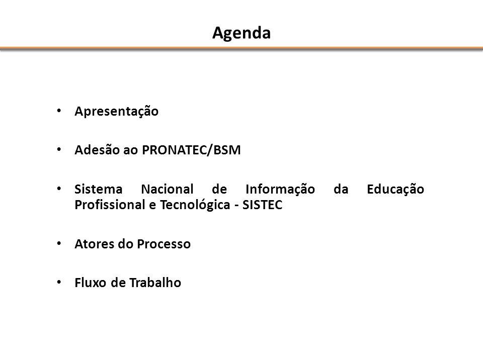 Agenda • Apresentação • Adesão ao PRONATEC/BSM • Sistema Nacional de Informação da Educação Profissional e Tecnológica - SISTEC • Atores do Processo • Fluxo de Trabalho
