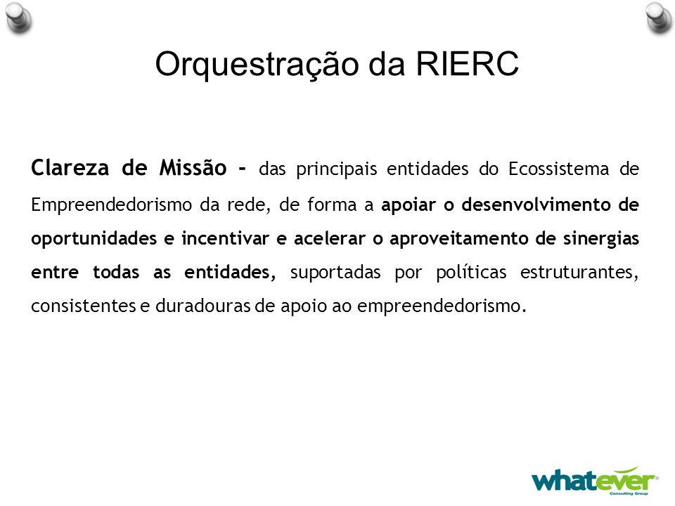 Orquestração da RIERC Clareza de Missão - das principais entidades do Ecossistema de Empreendedorismo da rede, de forma a apoiar o desenvolvimento de oportunidades e incentivar e acelerar o aproveitamento de sinergias entre todas as entidades, suportadas por políticas estruturantes, consistentes e duradouras de apoio ao empreendedorismo.
