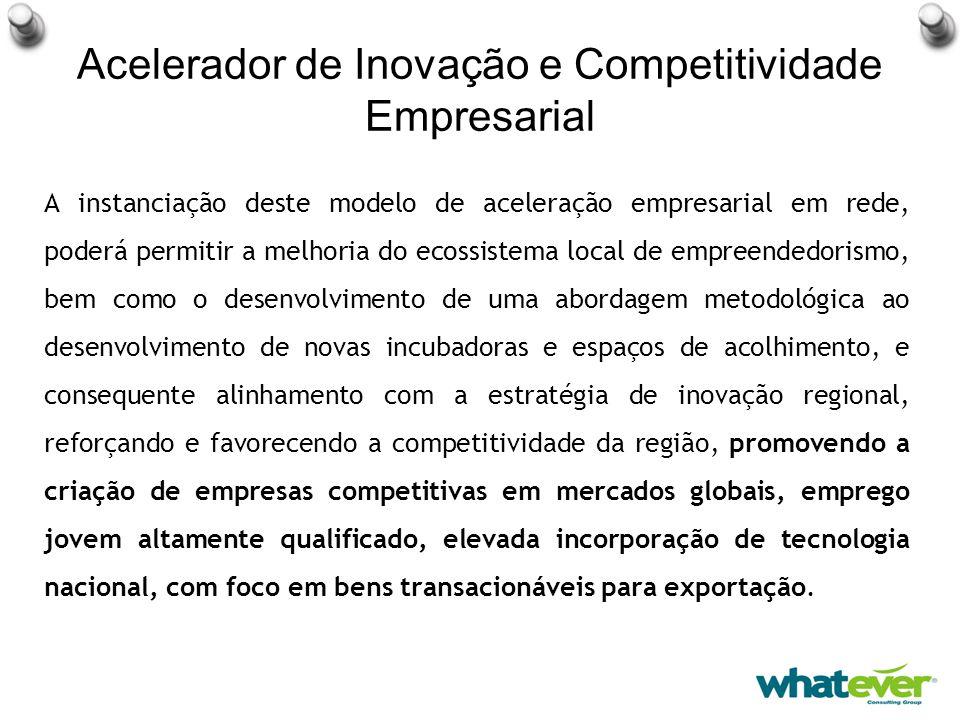 Acelerador de Inovação e Competitividade Empresarial A instanciação deste modelo de aceleração empresarial em rede, poderá permitir a melhoria do ecossistema local de empreendedorismo, bem como o desenvolvimento de uma abordagem metodológica ao desenvolvimento de novas incubadoras e espaços de acolhimento, e consequente alinhamento com a estratégia de inovação regional, reforçando e favorecendo a competitividade da região, promovendo a criação de empresas competitivas em mercados globais, emprego jovem altamente qualificado, elevada incorporação de tecnologia nacional, com foco em bens transacionáveis para exportação.