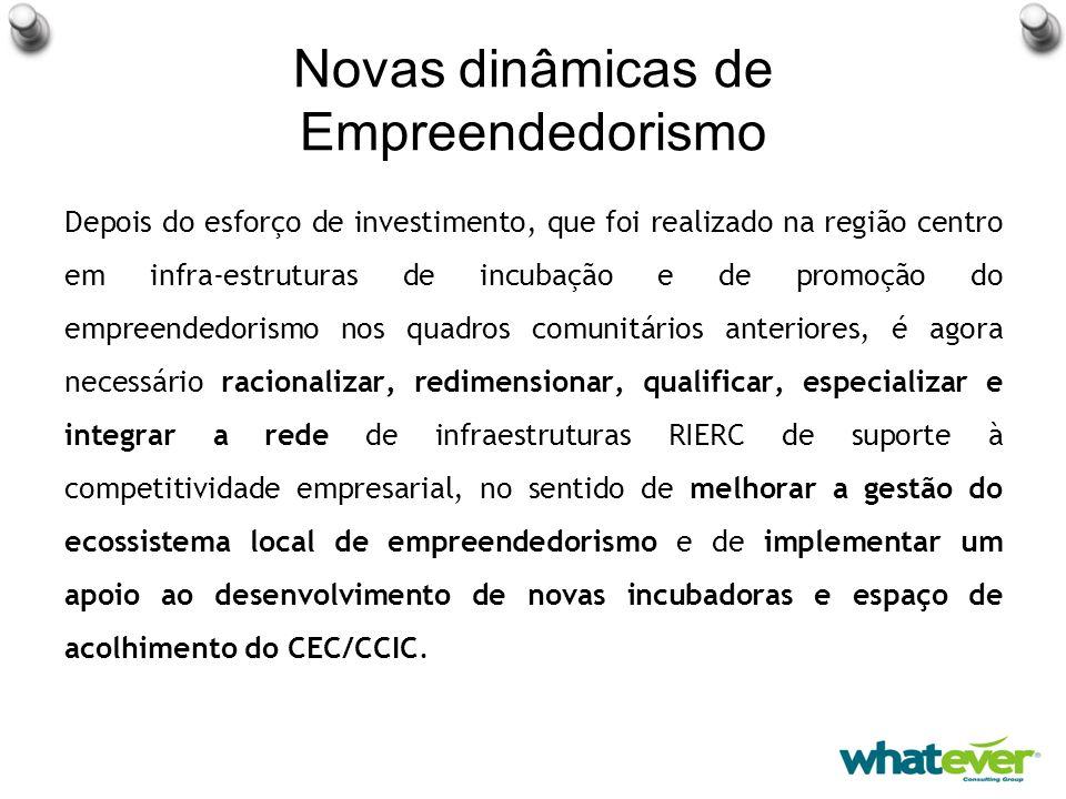 Novas dinâmicas de Empreendedorismo Depois do esforço de investimento, que foi realizado na região centro em infra-estruturas de incubação e de promoção do empreendedorismo nos quadros comunitários anteriores, é agora necessário racionalizar, redimensionar, qualificar, especializar e integrar a rede de infraestruturas RIERC de suporte à competitividade empresarial, no sentido de melhorar a gestão do ecossistema local de empreendedorismo e de implementar um apoio ao desenvolvimento de novas incubadoras e espaço de acolhimento do CEC/CCIC.