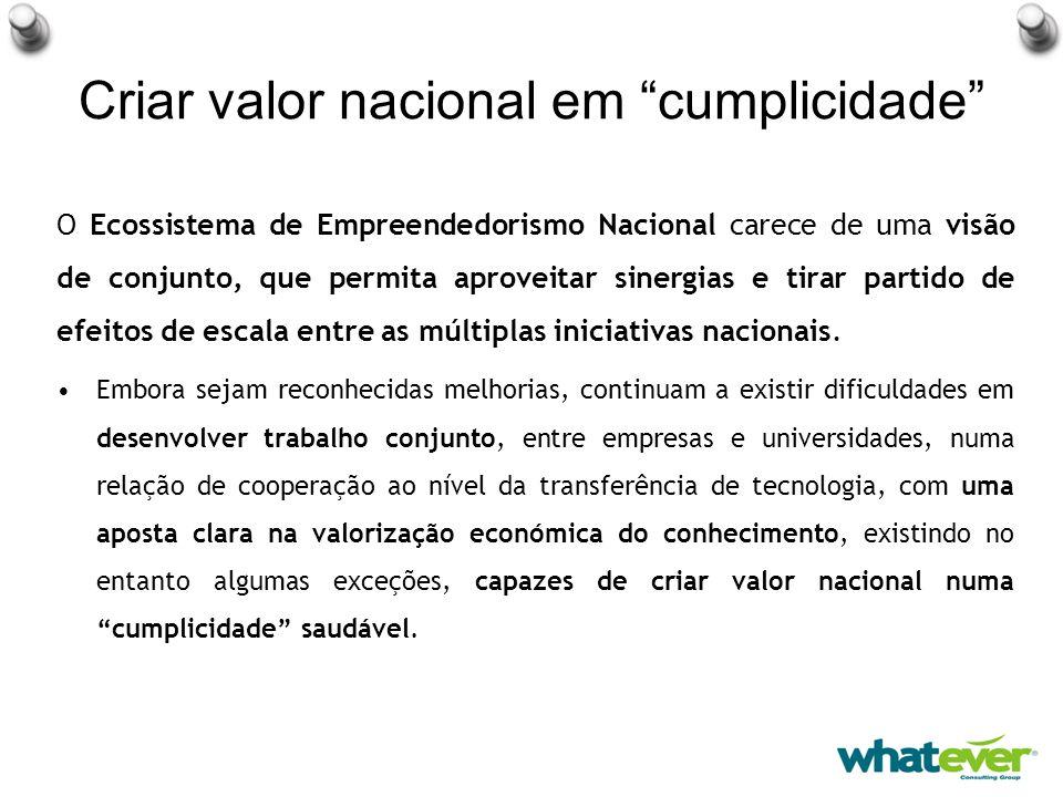 Criar valor nacional em cumplicidade O Ecossistema de Empreendedorismo Nacional carece de uma visão de conjunto, que permita aproveitar sinergias e tirar partido de efeitos de escala entre as múltiplas iniciativas nacionais.
