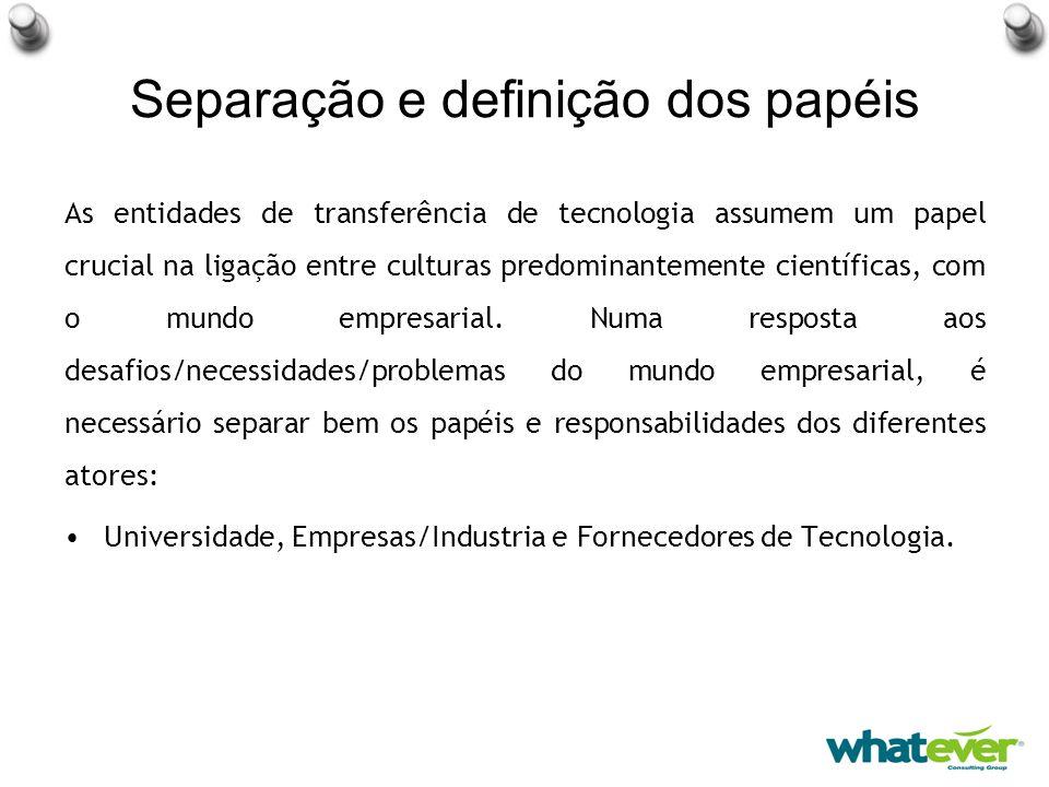 Separação e definição dos papéis As entidades de transferência de tecnologia assumem um papel crucial na ligação entre culturas predominantemente científicas, com o mundo empresarial.