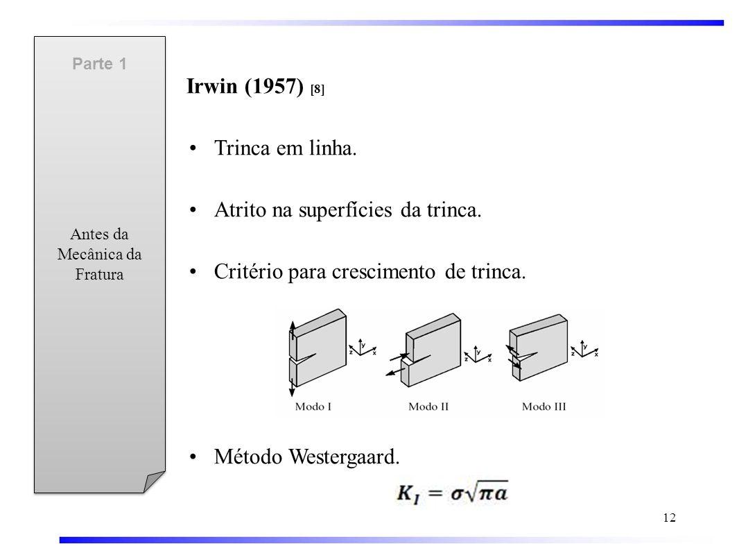 Irwin (1957) [8] •Trinca em linha.•Atrito na superfícies da trinca.