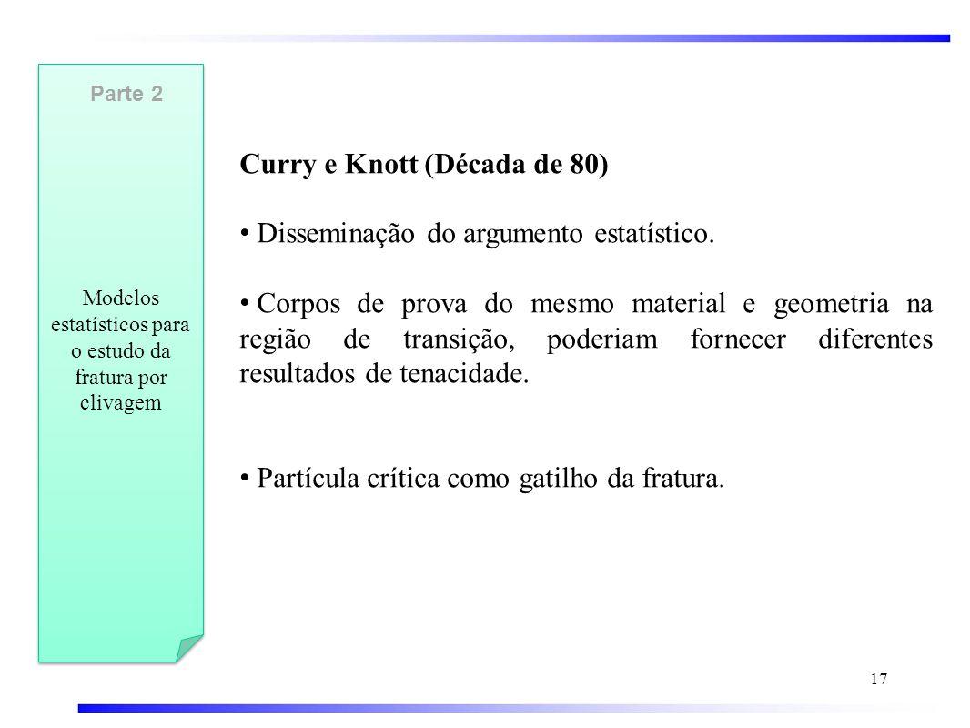 Modelos estatísticos para o estudo da fratura por clivagem Curry e Knott (Década de 80) • Disseminação do argumento estatístico.